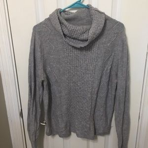 Ann Taylor Cowl Neck Cozy Knit Sweater Wool Gray